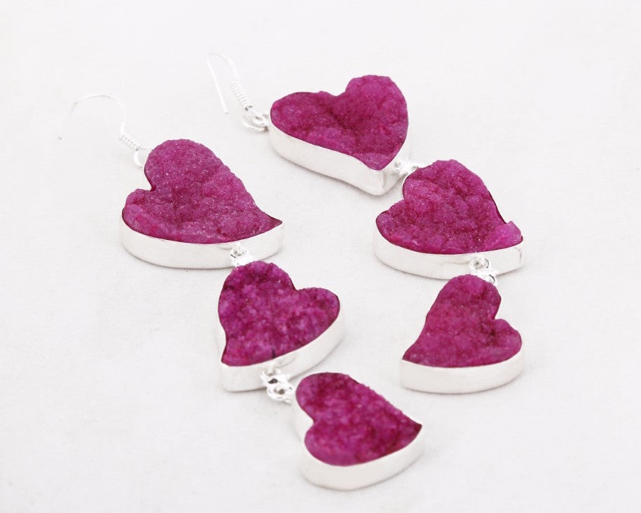 Pink heart shaped danglers