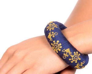 Embroidered raw silk bangle