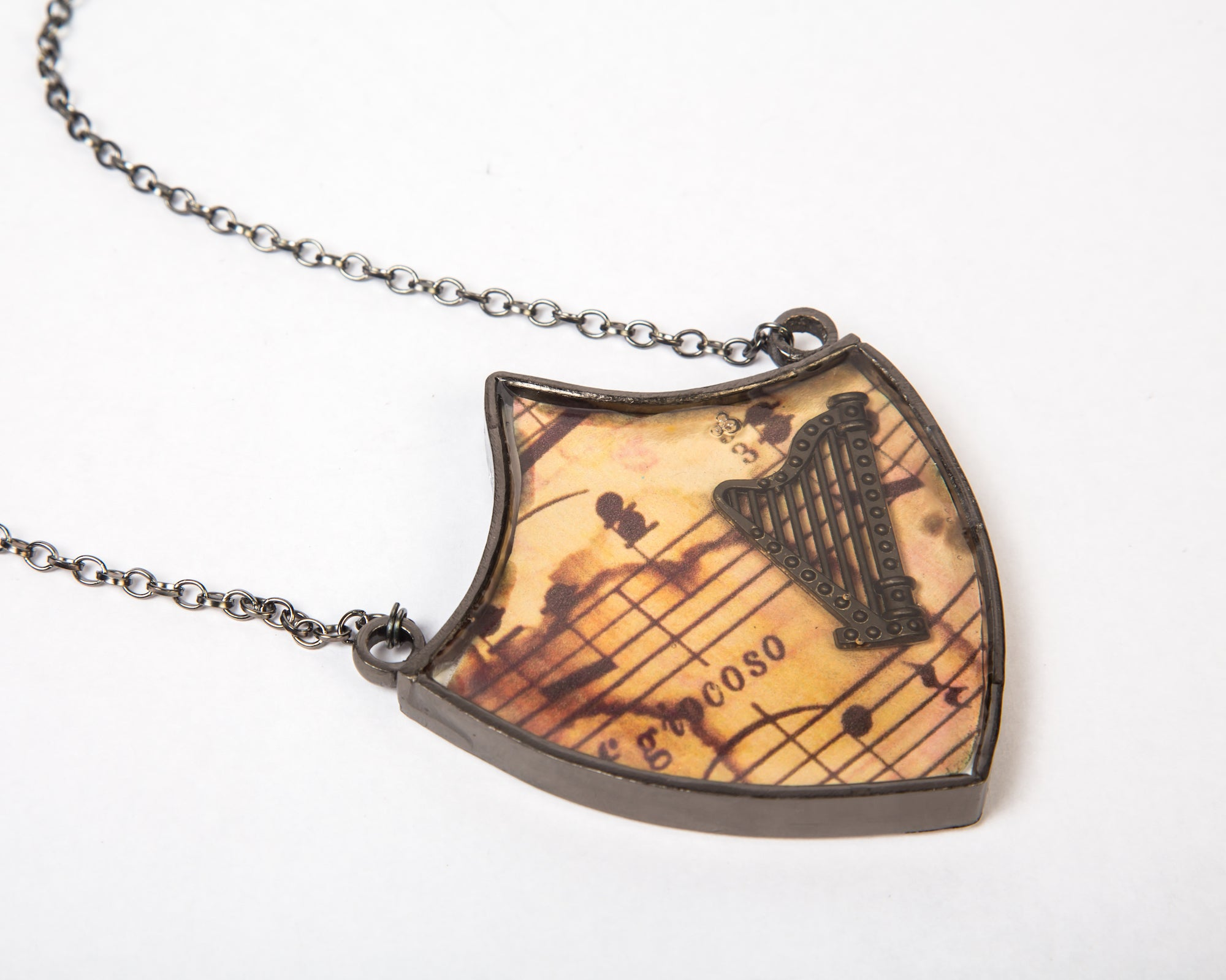 Copper with vintage finish harp musical neckpiece