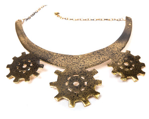 Gold oxidized finish on a brass metal base choker