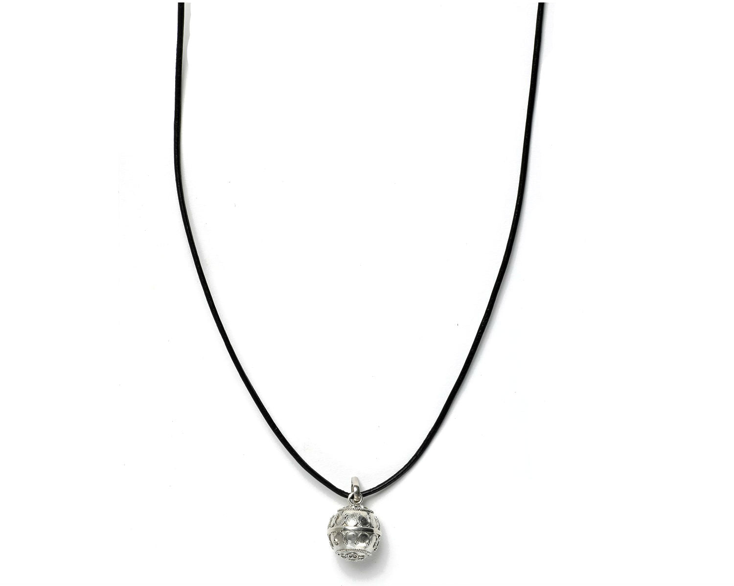 Harmony ball pendant strung in a black leather cord
