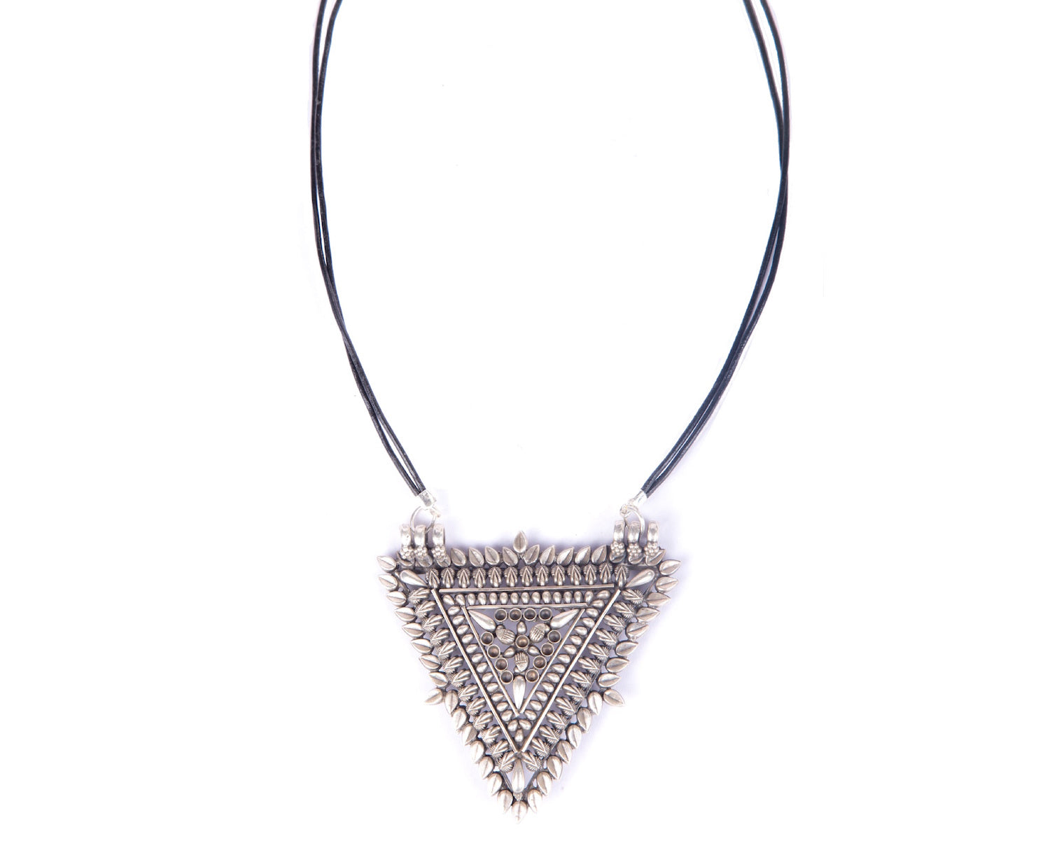 Sterling silver oxidized triangular shaped pendant strung in twin leather cords