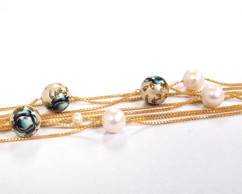 Sterling silver with gold plating meenakari pearl bracelet