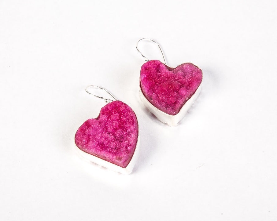 Sterling silver druzy stone heart shaped earrings