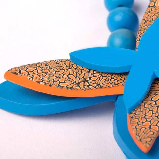 Blue & orange butterfly neckpiece