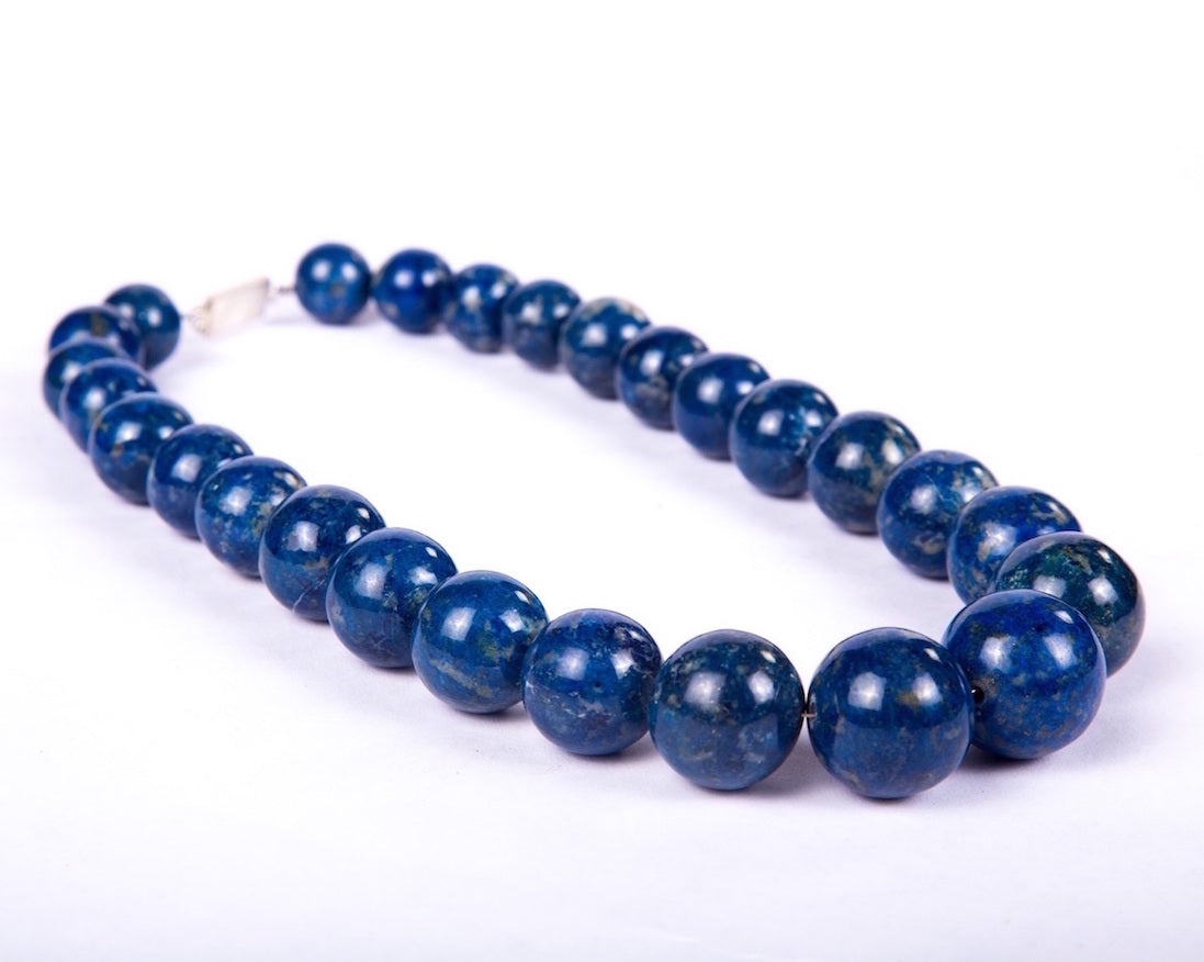 blue lapis gemstone princess length neckpiece