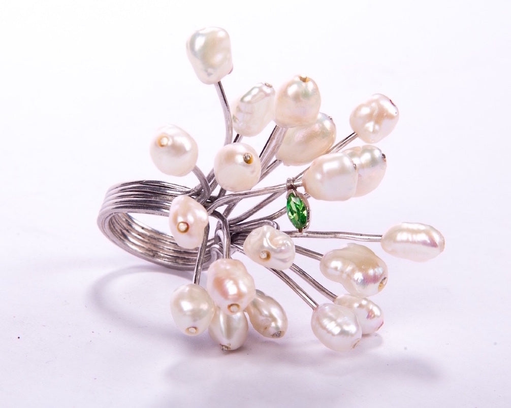 Fresh water baroque pearls with green cubic zirconia leaf ring