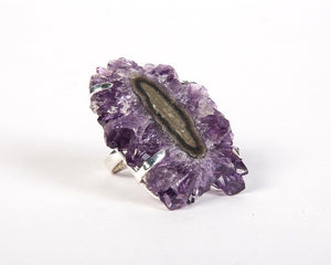 South African Amethyst Flower Quartz Druzy Ring