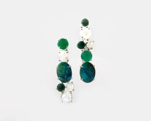 Chrysocolla, green onyx & moonstone semi precious stone earrings
