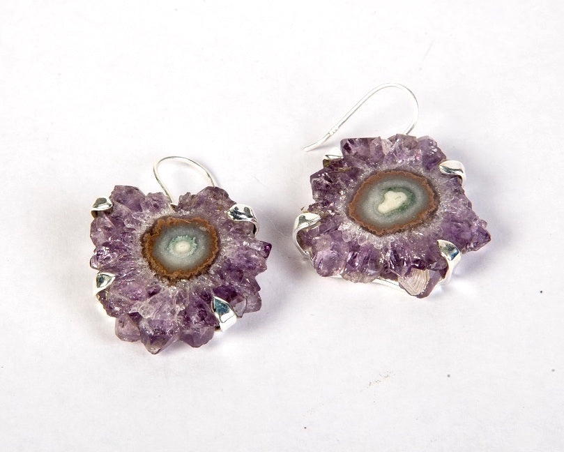 Amethyst flower druzy drop earrings