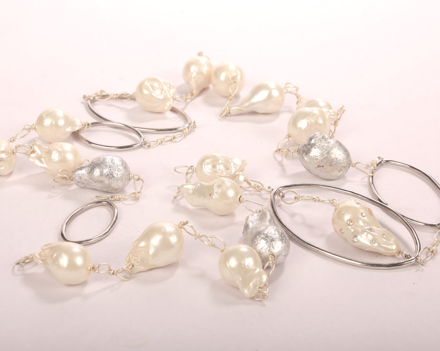 Baroque pearl & silver rings lace
