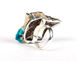 Blue rossette sterling silver ring