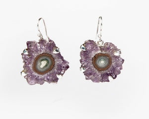 Front view of amethyst flower earrings