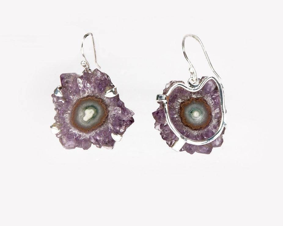Amethyst flower druzy South African stone ear hooks