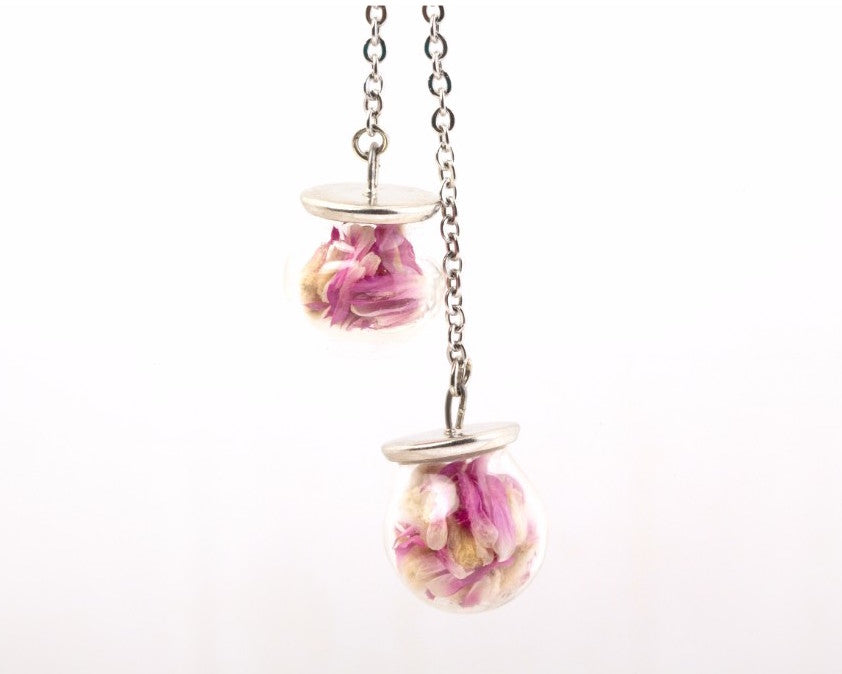 Globe Amarnath flowers packed in glass pendant necklace