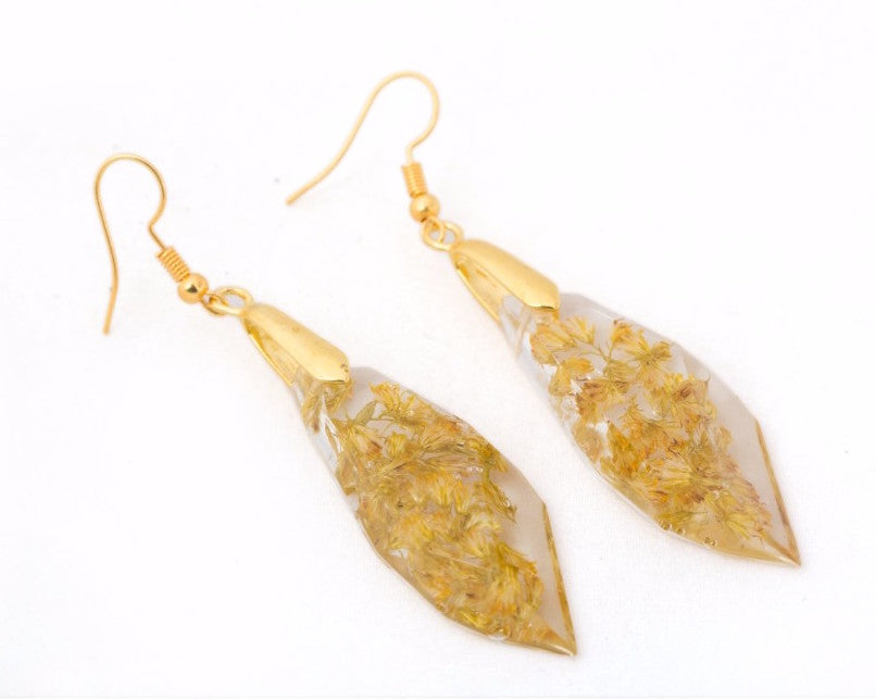 Dried yellow flowers  pellet shaped danglers