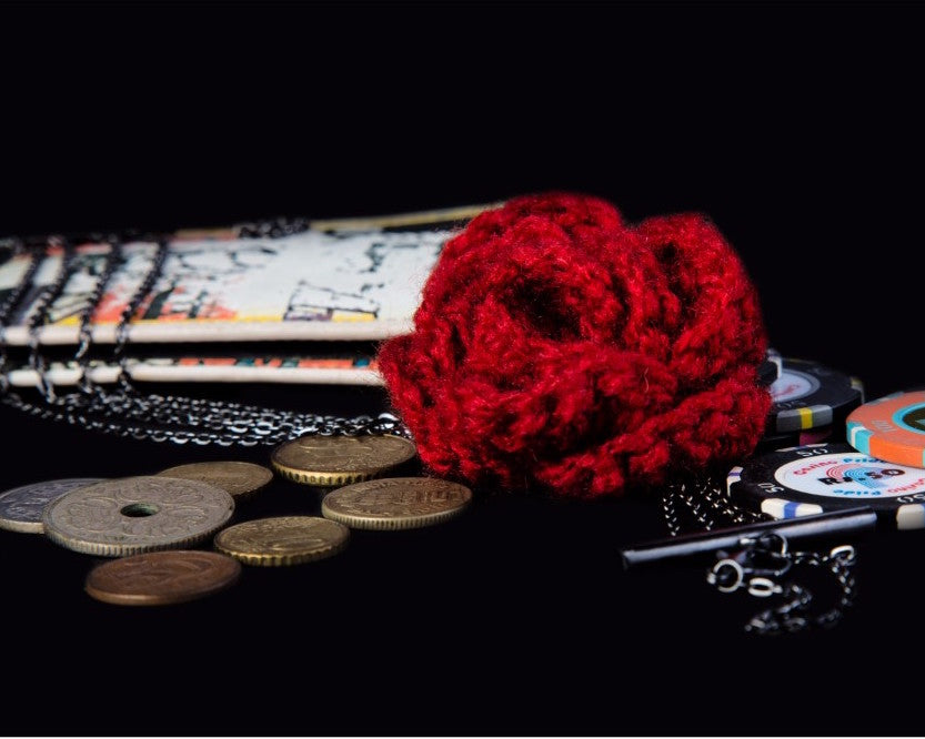 Red crochet flower with stylish metal chain neckpiece