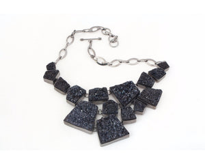Charcoal druzy neckpiece in gun metal plated frame