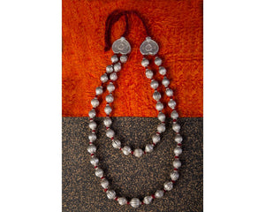 Silver beads layered long neckpiece