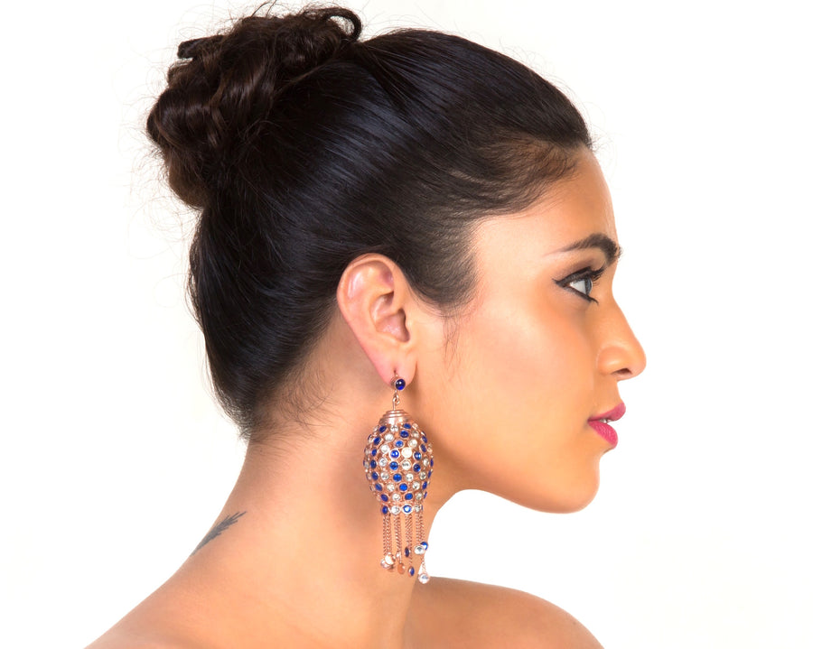 Blue Moroccan chandelier earrings