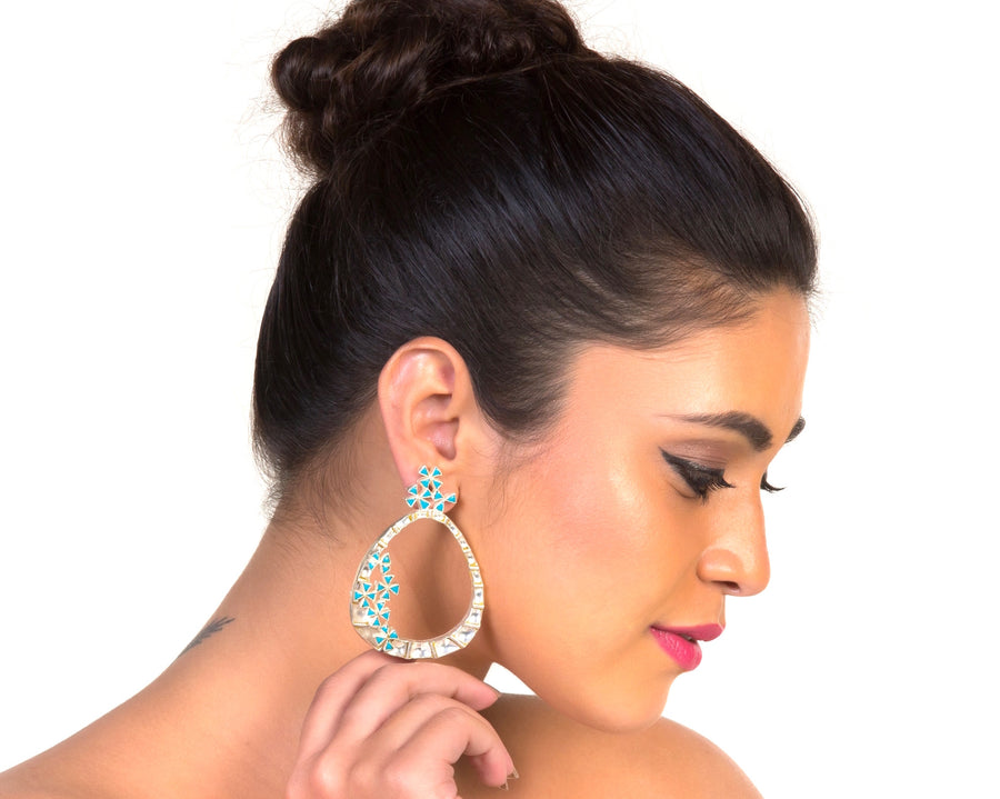 Sassy sparkle hoop style earrings in silver