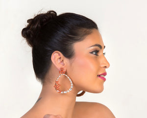 Rose gold plated hoop style earrings