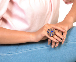 Moroccan misbah blue ring