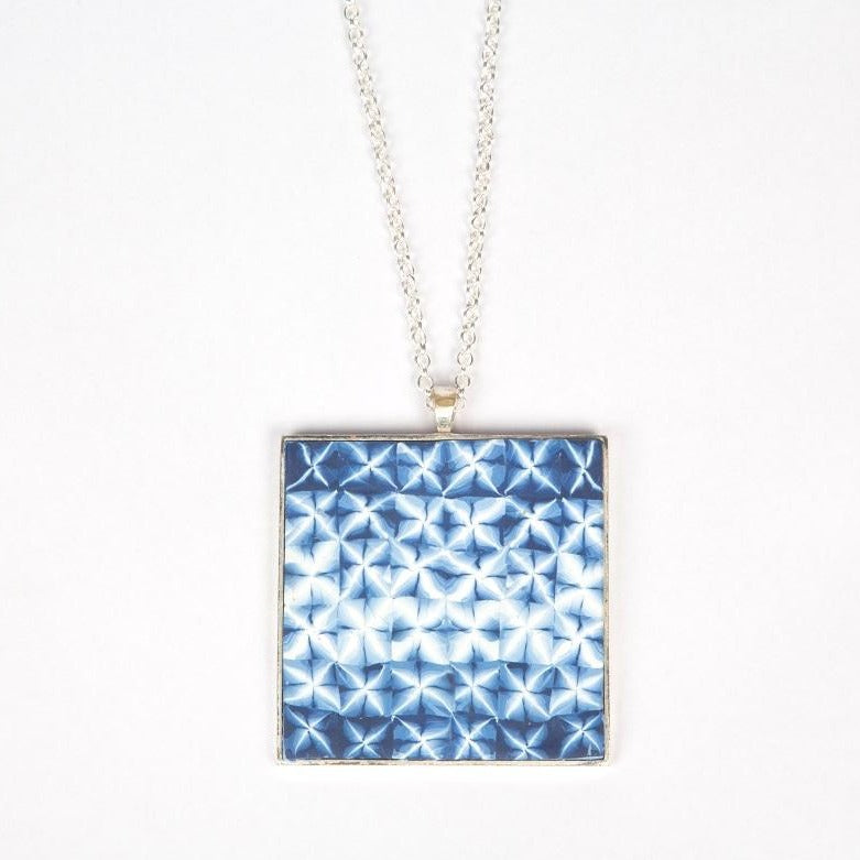 Fujino shibori pendant jewelry  midnight blue color