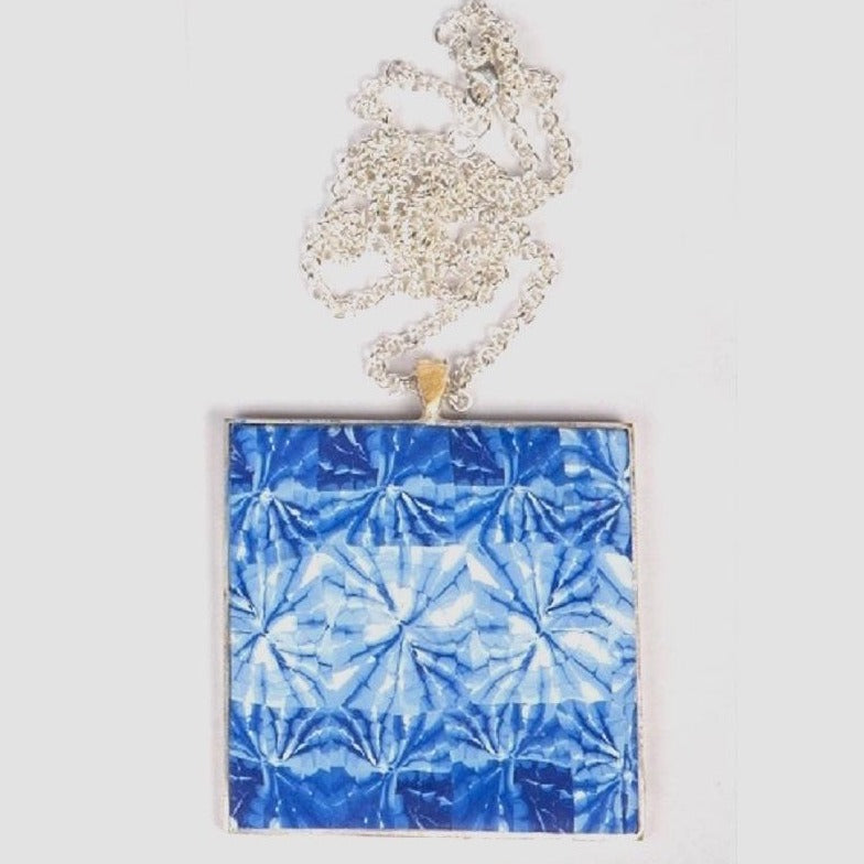 Chunky polymer clay royal blue shibori tile pendant