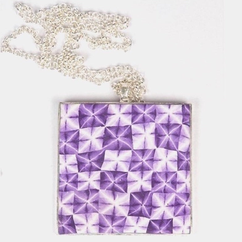 Shibori surabu pendant in purple