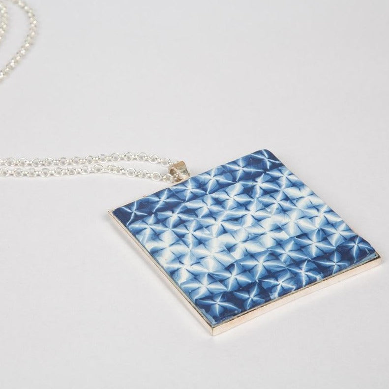 Brass with silver plating chain with midnight blue shibori pendant