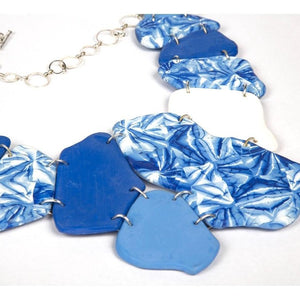 Color block polymer clay shibori neckpiece