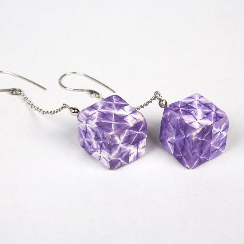 Cubic shaped polymer clay shibori drops