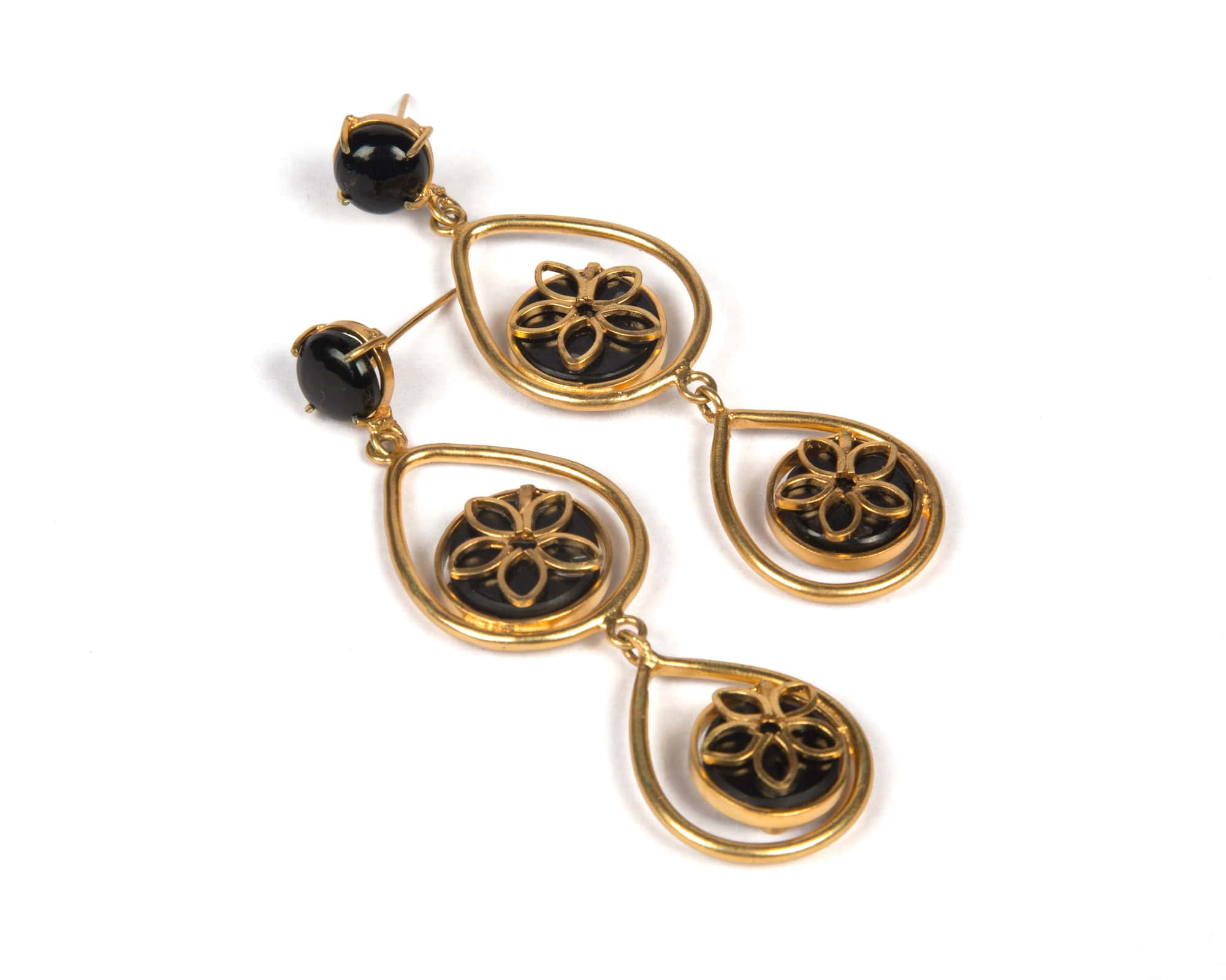Gold plated copper with black onyx stone danglers