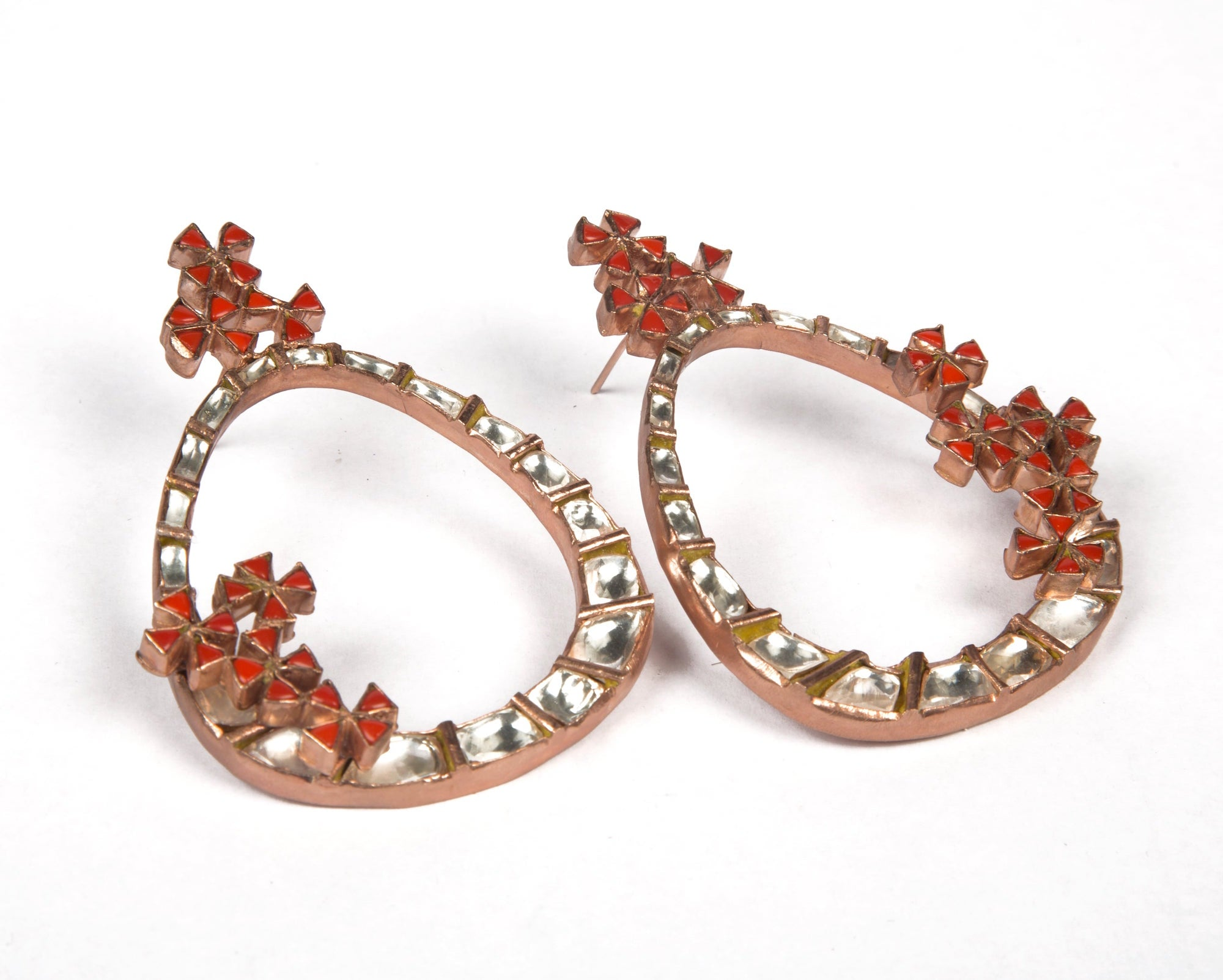 Kundan hoop style earrings with flowers made of coral stone