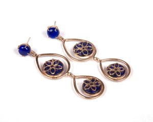 Copper with rose gold plating with blue sapphire stone danglers