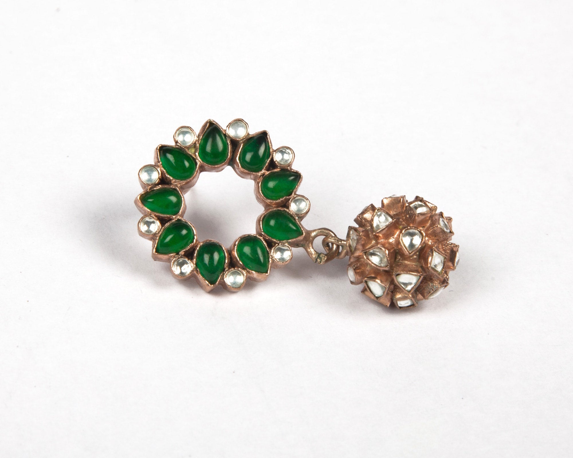 Tiara drops with green garnet stone and rose gold plated