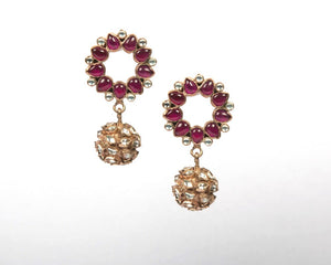 Rose gold plated pink sapphire & zircon kundan earrings