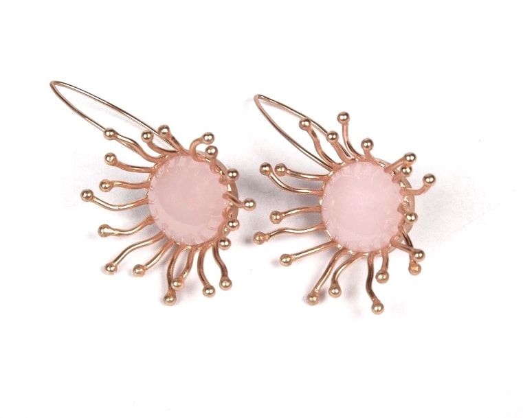 Fish hoop style rose quartz earrings