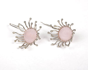 Rose quartz earrings with sterling silver polish