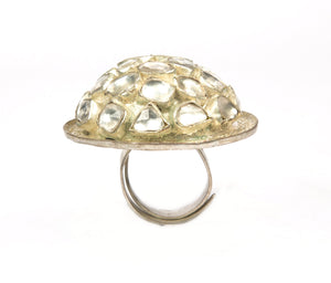 Dome shaped cocktail ring in silver kundan work