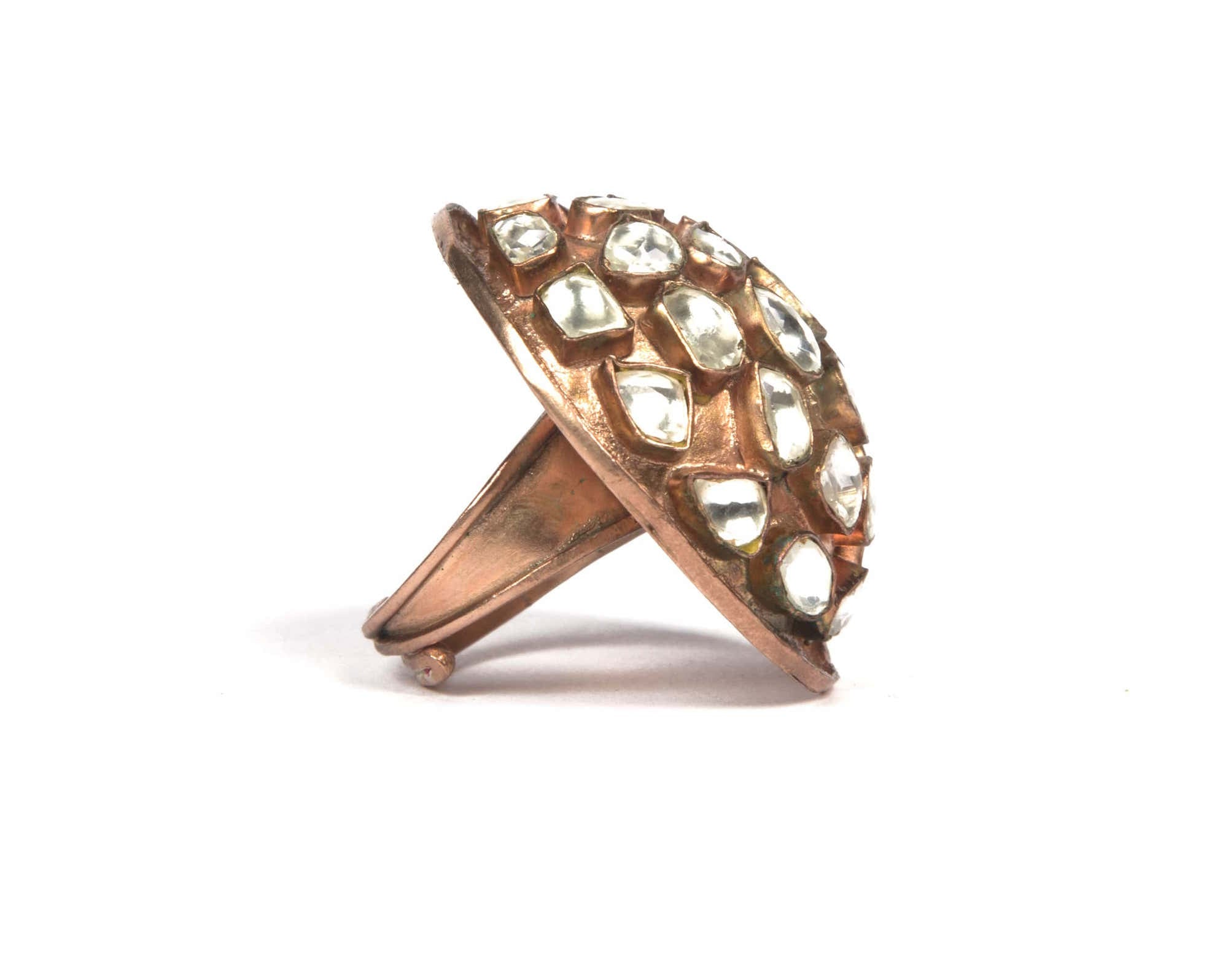 BOld dome shaped kundan work rose gold ring