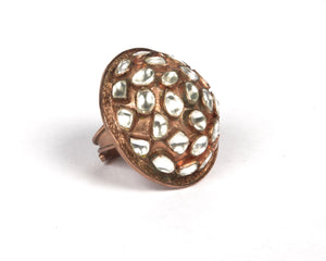 Copper with rose gold plating and silver kundan work dome ring
