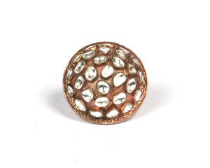Contemporary kundan work dome in rose gold color finger ring