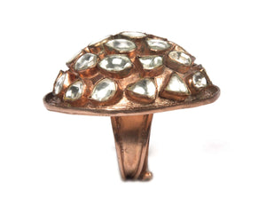 full view of shiny dome ring rose gold plating