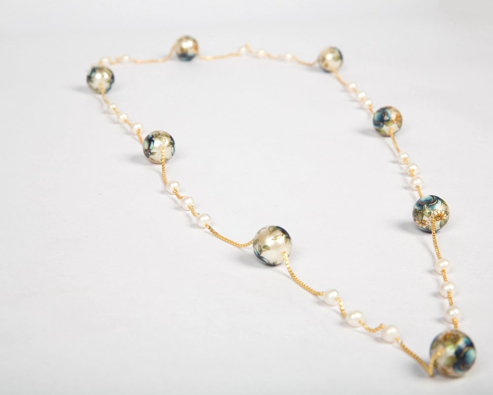 Sterling silver with gold polish meenakari pearl necklace