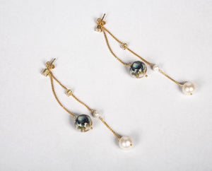 Sterling silver with gold finish meenakari pearl earrings