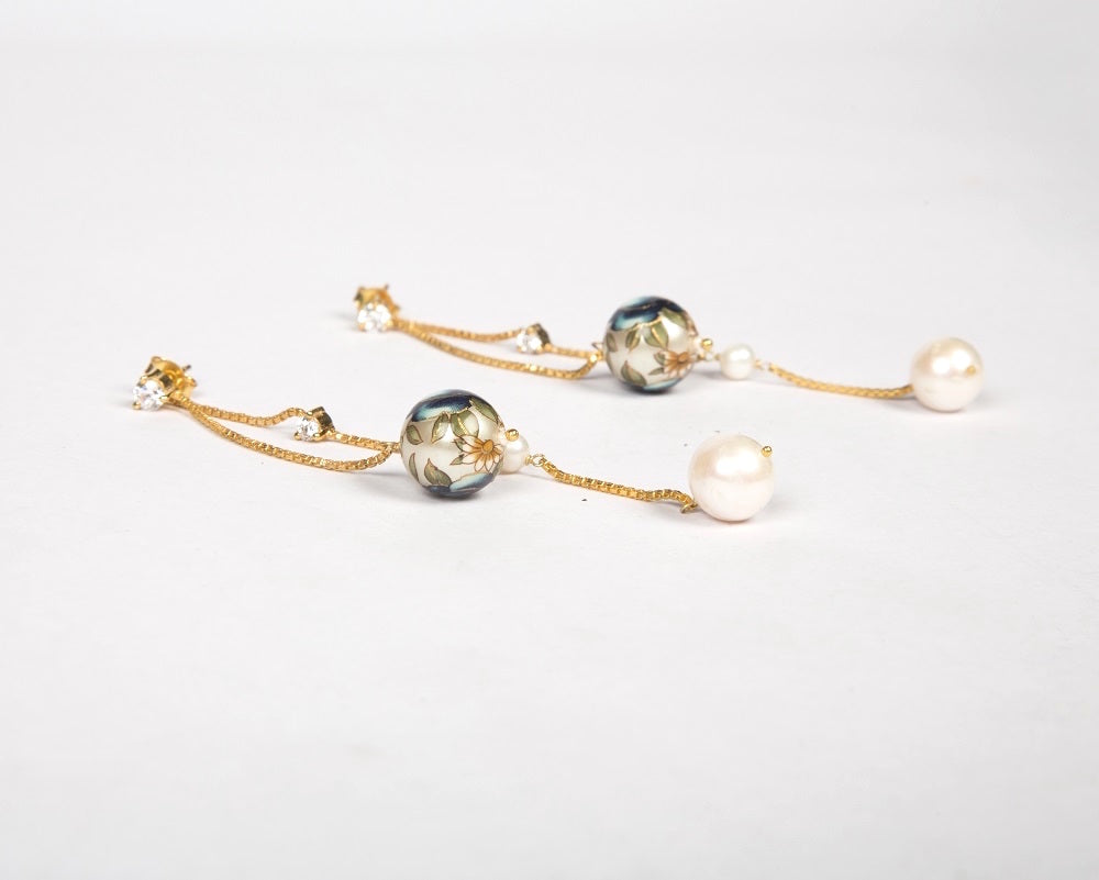 Meenakari pearl duet earrings