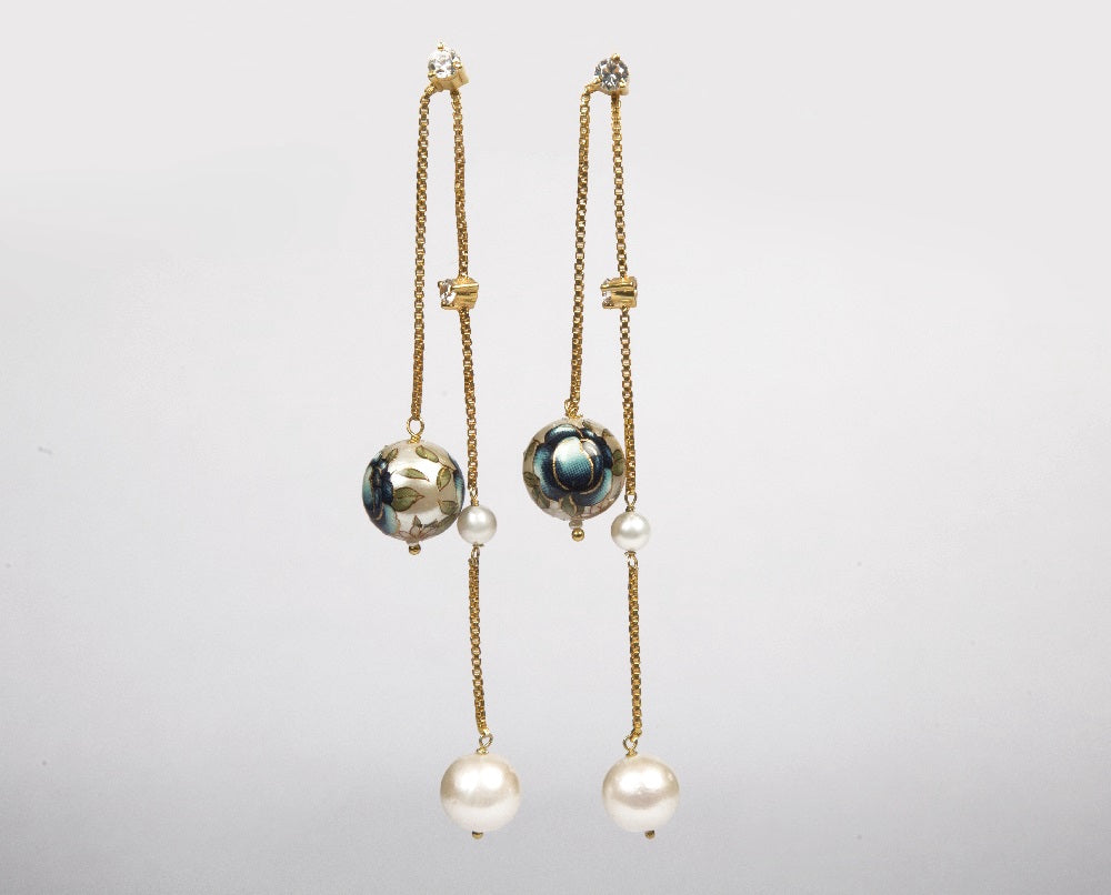 Full view of meenakari pearl earrings