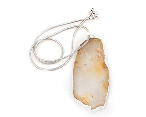Botswana agate stone with sterling silver coated snake metal chain